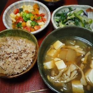 寒くなると自然に暖かいものが食べたくなるものなのだ・とうがんと豆腐ときのこのあんかけ