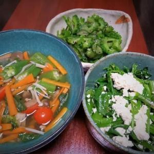 昨日から過食気味なので少なめ野菜だけメニュー・モロヘイヤとオクラのスープ