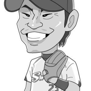 青木宣親選手の似顔絵(モノクロ)。