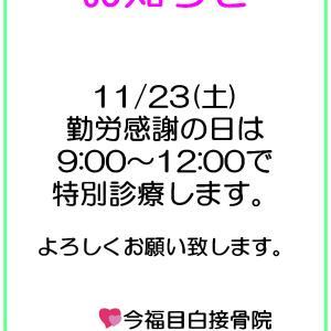 11/23(土)勤労感謝の日 特別診療