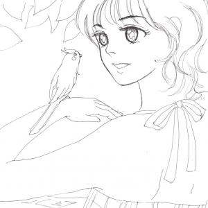 ぬりえ 小鳥と女の子