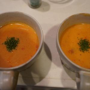 かぼちゃのポタージュ、山芋と昆布、氷出汁の漬物 ~出汁作り~