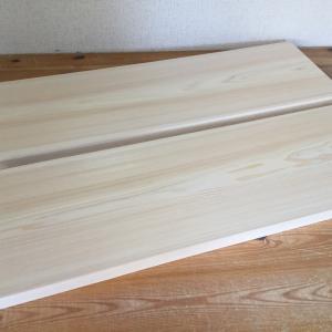 2枚の桧材で幅ハギ板を製作+塗装仕上げ