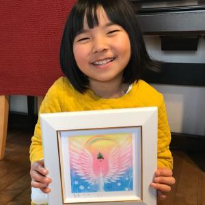 小学一年生の天使画、両翼アート♪