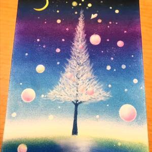 今日は、パステル和アートレッスンで、『Shiny tree』を描きます!