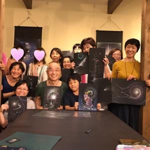 秋山峰男さんの点描画ワークショップ2日目でした!
