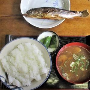 いわな塩焼き きのこ汁/秋山郷紅葉
