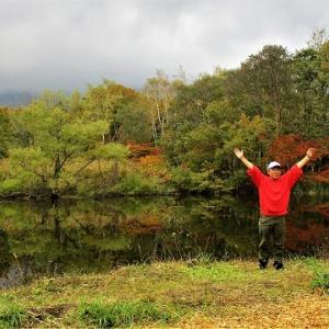 天池紅葉真っ盛り/秋山郷紅葉