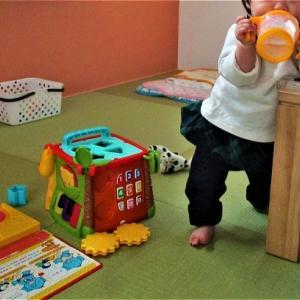 孫 葵 机に つかまり立ち ミルク飲む
