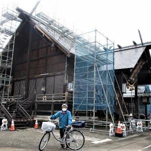 日枝神社屋根工事中