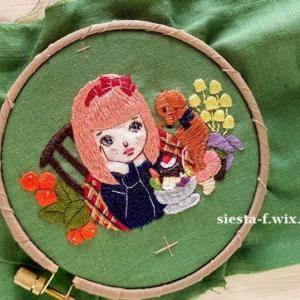 乙女とプリンアラモード刺繍