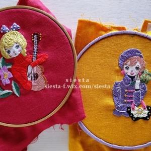 【10月の新作】レトロ昭和乙女の刺繍がま口ポーチ制作中