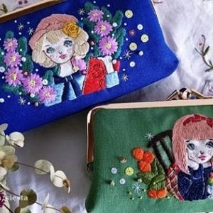 新作のレトロ乙女刺繍がま口&ブックカバー販売します