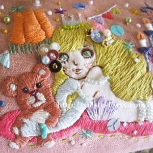 子供部屋のマーメイド・刺繍絵がま口財布