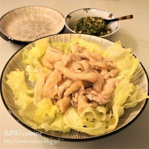 ピリ辛ニラだれで☆薄切りロース肉のツルリンゆで豚☆