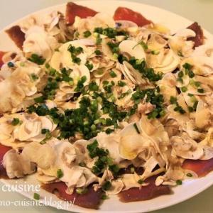 簡単おつまみレシピ☆漬けまぐろとマッシュルームのカルパッチョ☆そして胡蝶蘭が2度咲きしました!