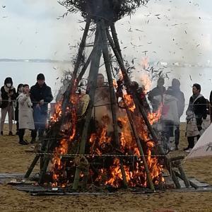 1166 どんど焼きと今年も牡蠣小屋
