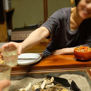 長火鉢で夕飯