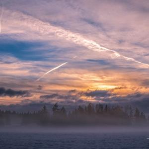 霧林と夕焼け