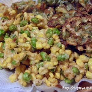 トウモロコシと枝豆/新玉葱と竹輪かき揚げ