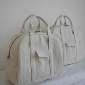 【帆布のボストンバッグ】ホワイト(L)(LL)販売します