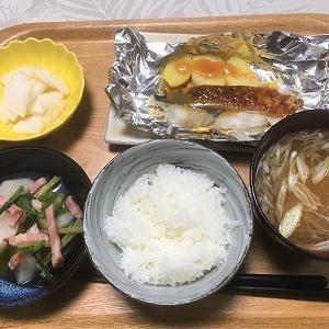 今日の夕食 鰆の味噌マヨネーズ焼きなど