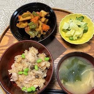 昨日の夕食 レンコンのカレー炒め