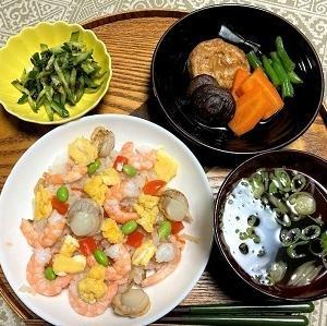 昨日の夕食 冷凍「むき枝豆」を使った五目ずしなど