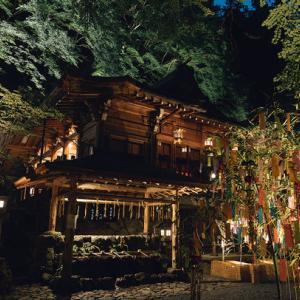 貴船神社にて七夕笹飾り(ライトアップ)