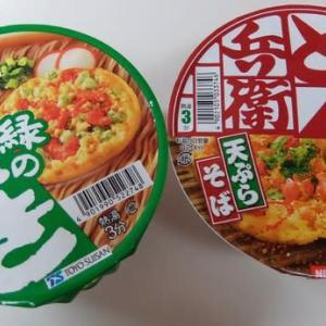 <gourmet>マルちゃん 緑のたぬき 天そば+日清 どん兵衛 天ぷらそば