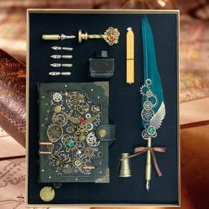 魔法書、羽根ペン、封蝋などのセット