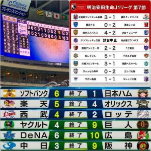 昼間の阪神〓(9-3中日)と札幌〓は見事な逆転劇で、夜は川崎〓(3-1湘南)、広島〓および楽天〓が追従した7/26のプロ野球と〓Jリーグ