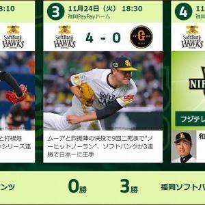 11/24 「SMBC日本シリーズ2020」第3戦【ホークス4ー0巨人@PayPayドーム】の件+α