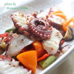 【魚菜レシピ】猛暑にはこれ!「疲れを癒す♪たこと夏野菜のハニーマリネ」