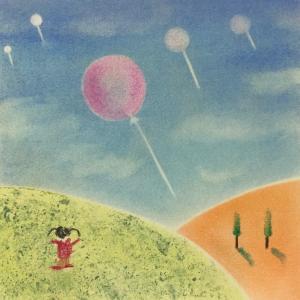 花畑と空飛ぶ風船