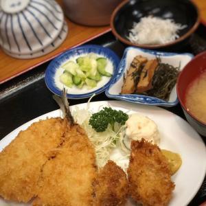 メニュ豊富!日替わり定食がアジフライ&カキフライだった日@浅草 魚料理 遠州屋 (田原町)