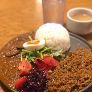 スパイス香る!キーマカレー&やわらか牛タンの煮込みカレーの合盛り@大衆ビストロ ジル (東京駅)