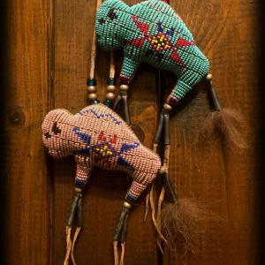 Two Tiny Beaded Buffalo Amulets... done!!