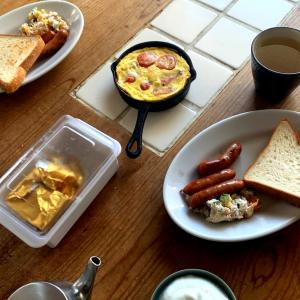 健康長寿のかたの朝ごはん。
