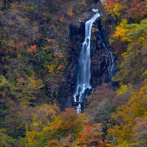 三階滝と不動滝の紅葉、、、曇りの日と晴れた日では、、、