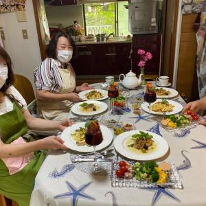 """生徒さん""""レストランみたぁ~い☆""""ベテランお3人の7月号お料理教室♡夏野菜で美肌~☆"""