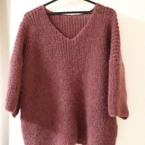 ドロップショルダーのセーター完成