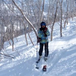 久々の青空スキー3)羊蹄山をバックに