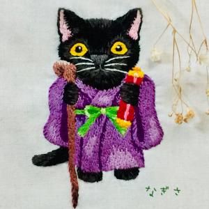 猫の福禄寿様の刺しゅう