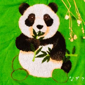 パンダの刺しゅうのバッグチャーム制作状況2020年3月10日