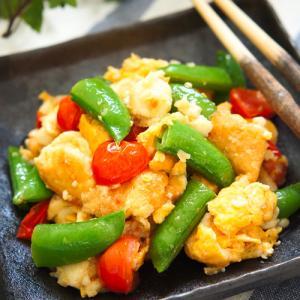 食感が楽しい旬野菜♪甘いシュガーピーこと砂糖豌豆&プチトマトの彩りチャンプルー