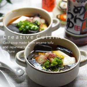 切って混ぜるだけ★黒と白の豆腐の冷たい 「お塩ひかえめめんつゆ」和風スープ