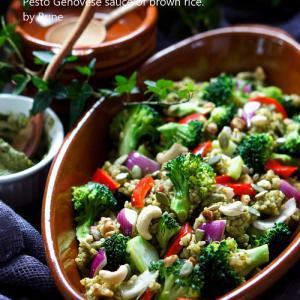 猛暑対策★3ジェノベーゼ早炊き玄米ブロッコリーサラダ