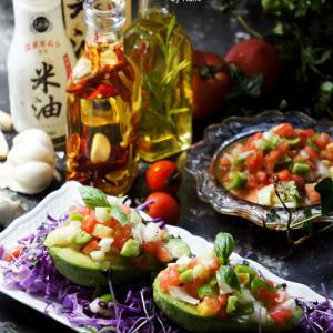 ボーソー米油は万能オイル♪食べるラー油やアヒージョにも♥ハーブ香るアボガドサラダ