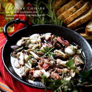 ボーソー米油で作る2種類のキノコとタコのアヒージョ